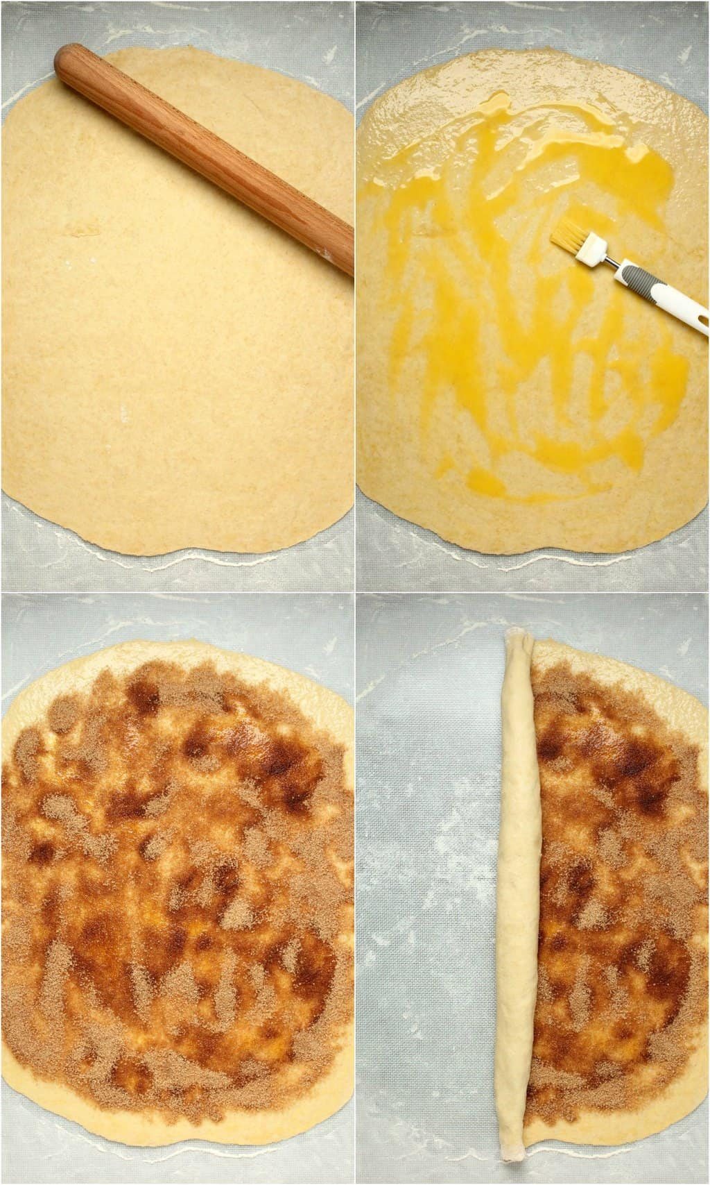 Step by step process photo collage of making vegan cinnamon rolls.