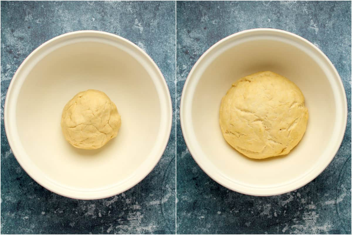 Two photo collage showing small ball of dough in mixing bowl and then the risen dough.