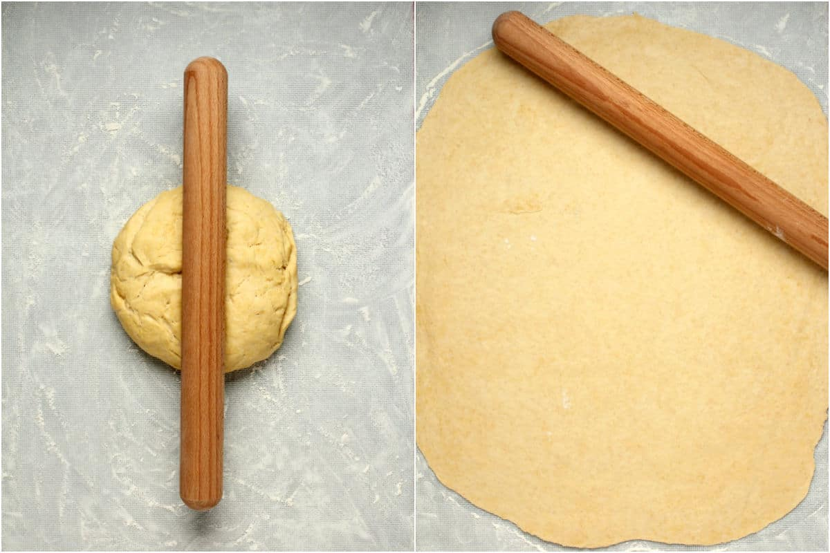 Two photo collage showing rolling out the dough.