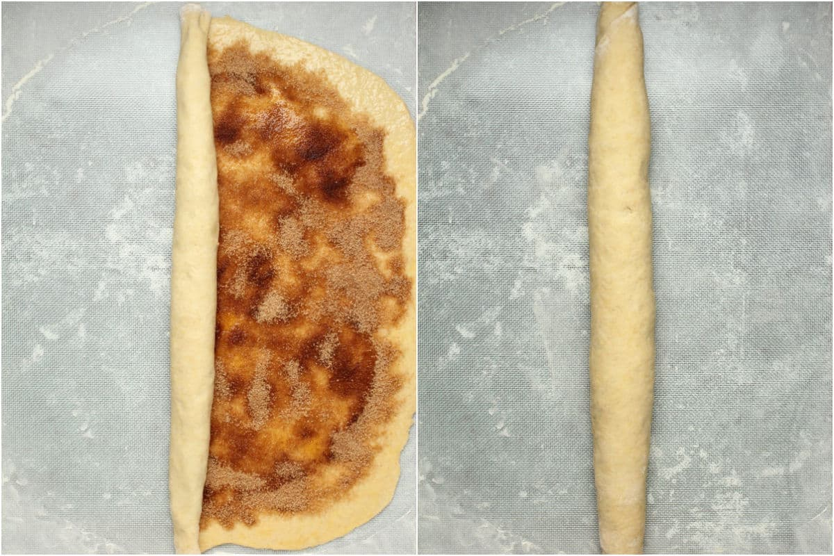 Two photo collage showing rolling up the dough.
