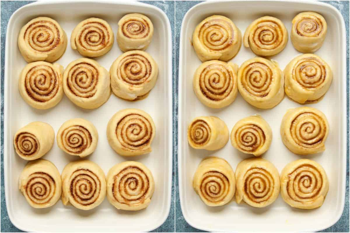 Two photo collage showing the risen rolls in the white baking dish and then brushed with melted butter.