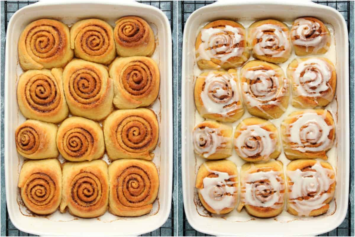 Two photo collage showing baked cinnamon rolls and then drizzled with icing sugar.