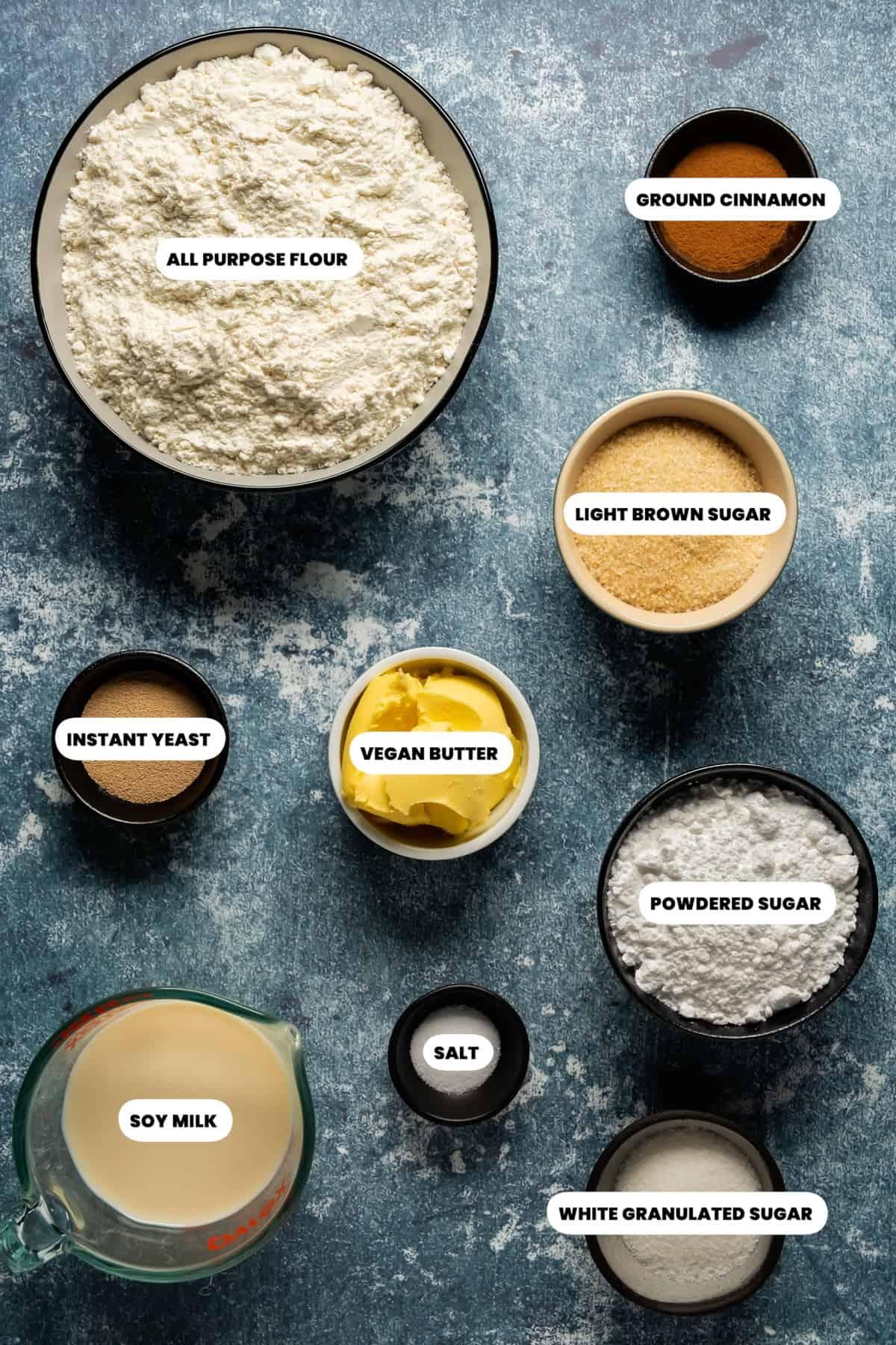 Photo of the ingredients to make vegan cinnamon rolls
