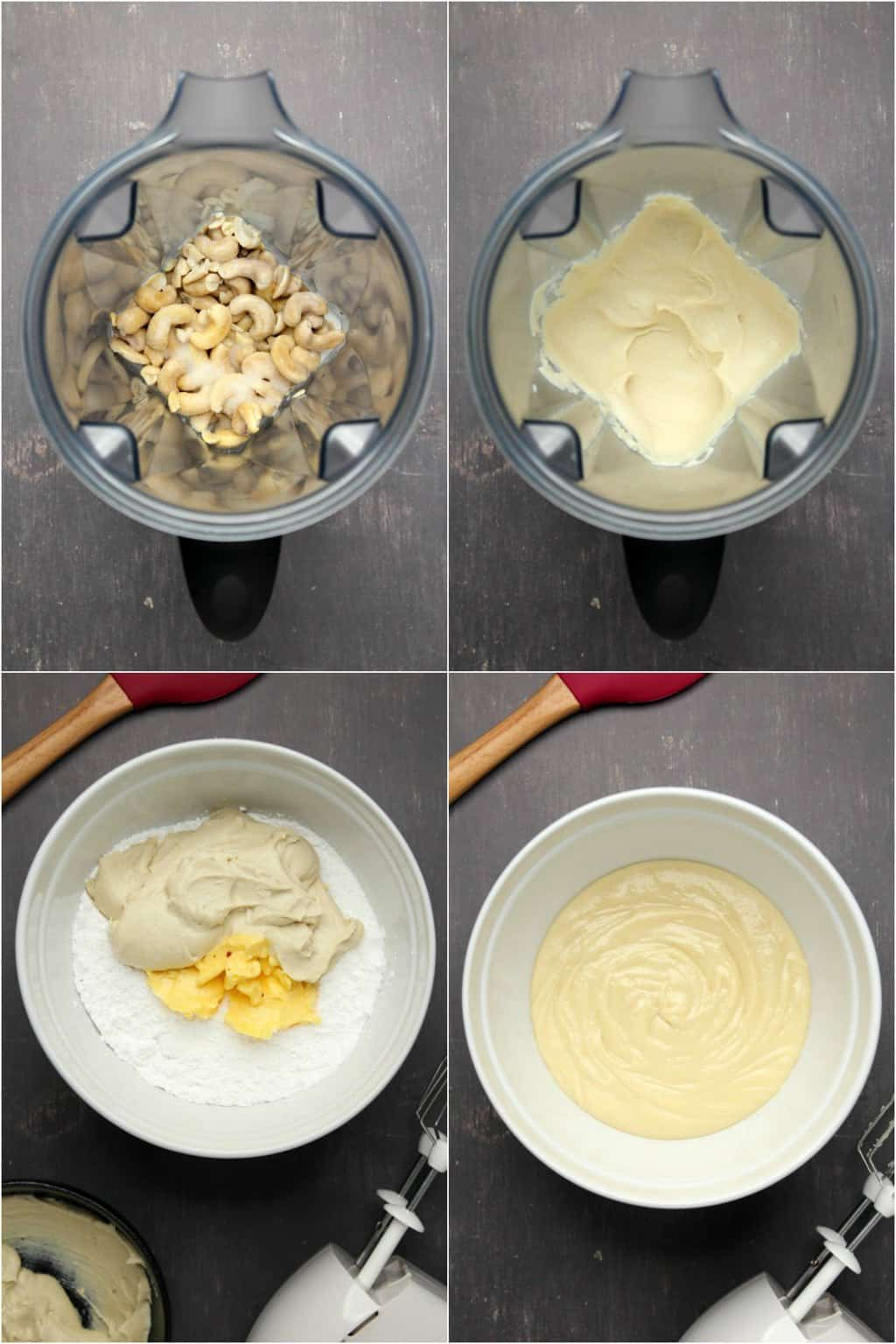 Step by step process photo collage of making vegan cream cheese frosting.