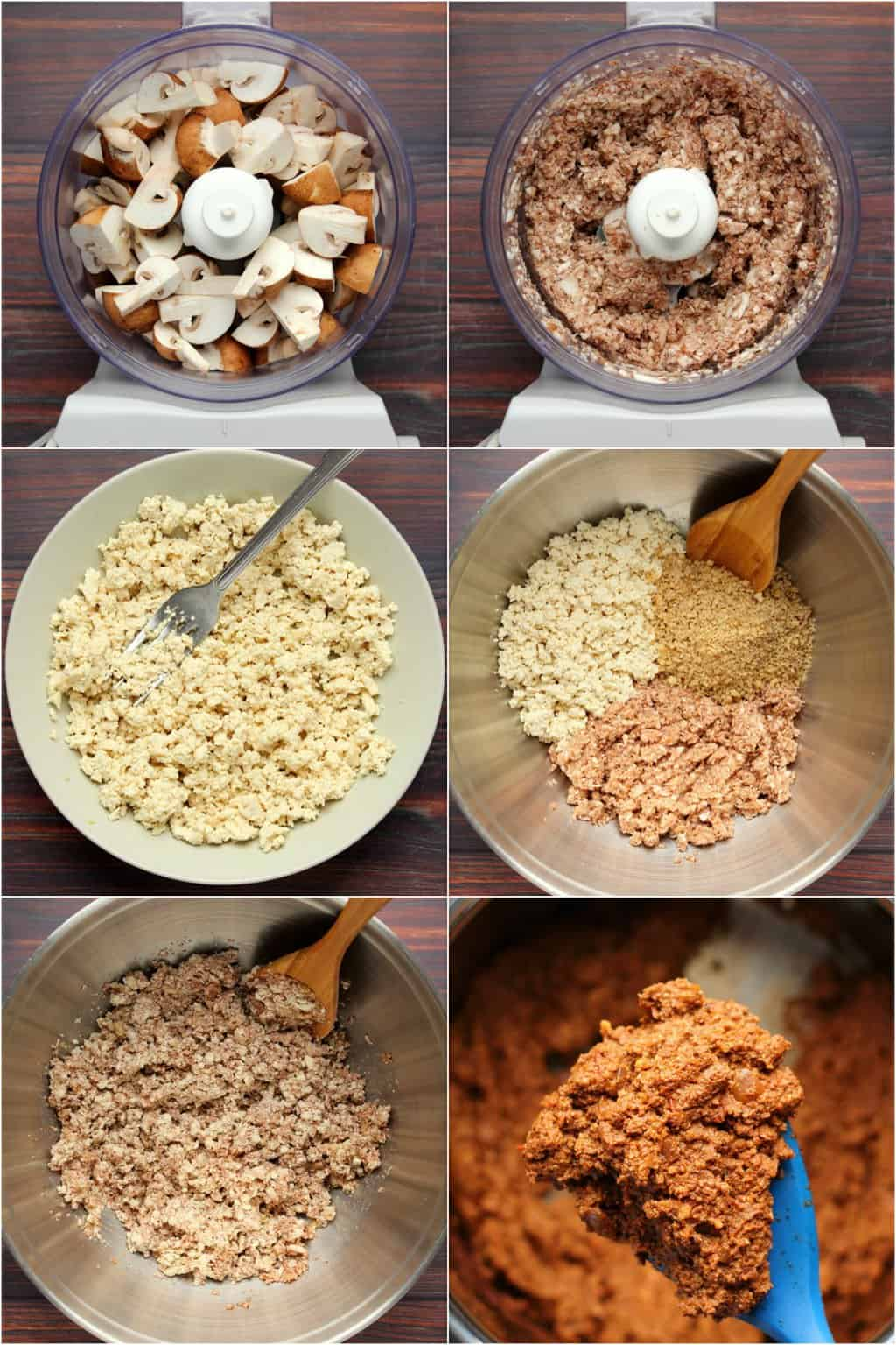 Step by step process photo collage of making a vegan bolognese for a lasagna.