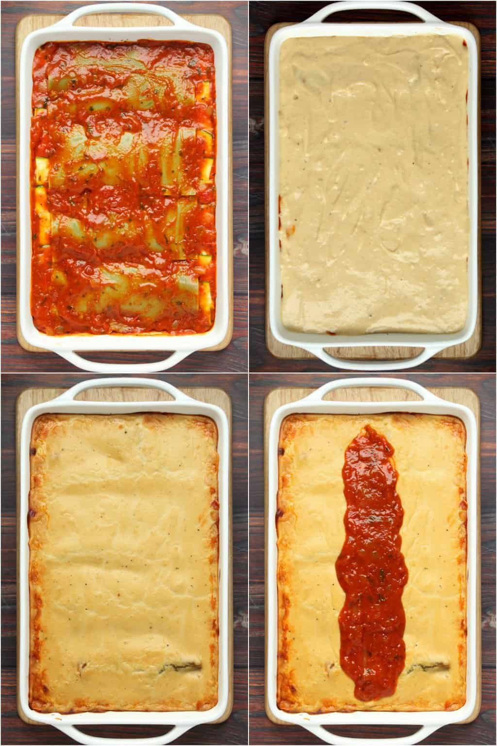 Step by step process photo collage of completing a vegan lasagna recipe.