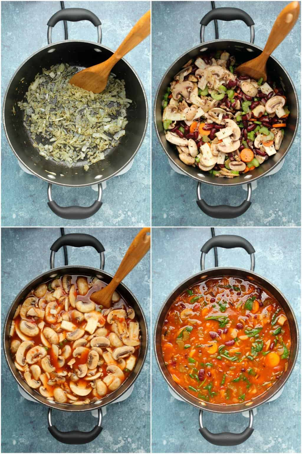 Step by step process photo collage of making vegan minestrone soup.