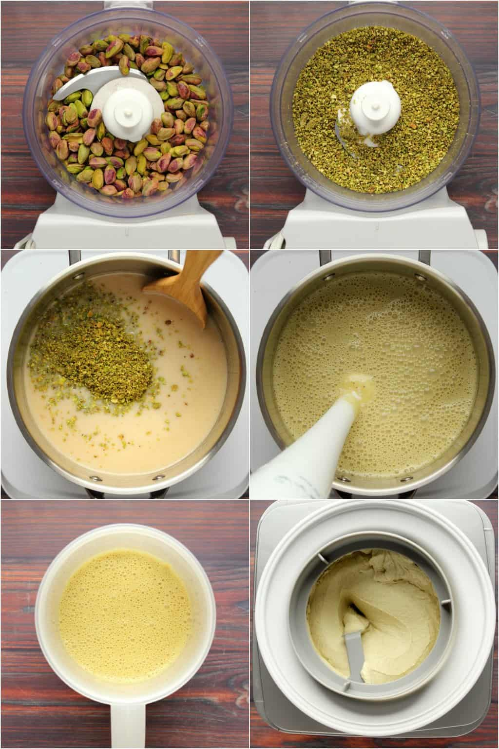 Step by step process photo collage of making vegan pistachio ice cream.