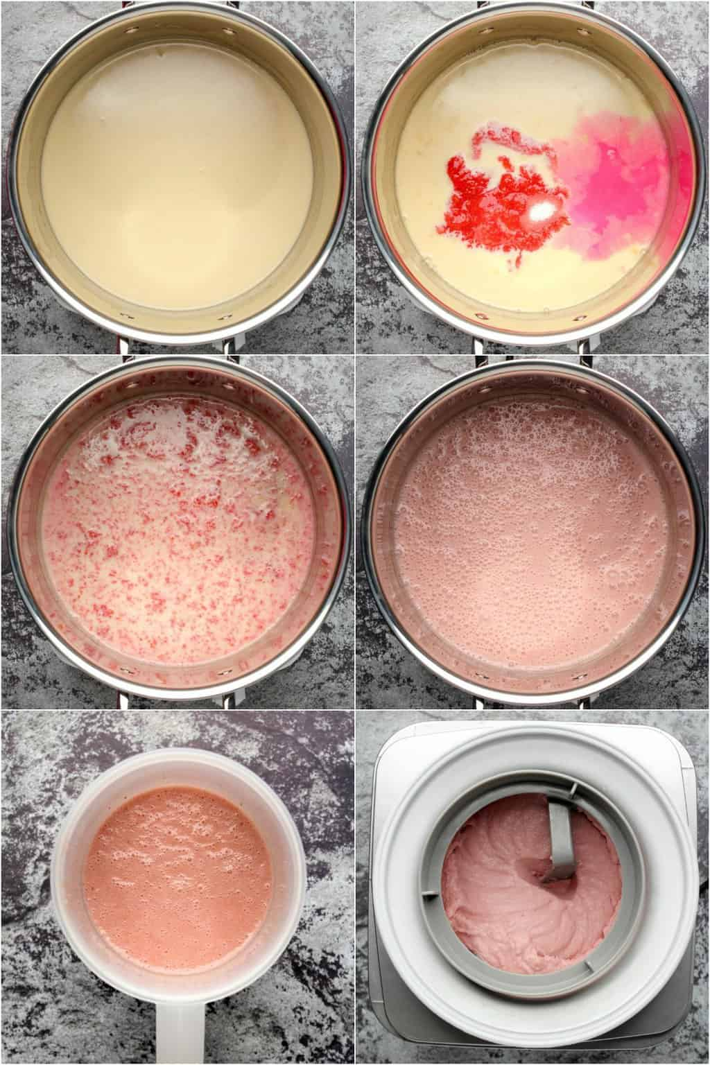 Step by step process photo collage of making vegan strawberry ice cream.