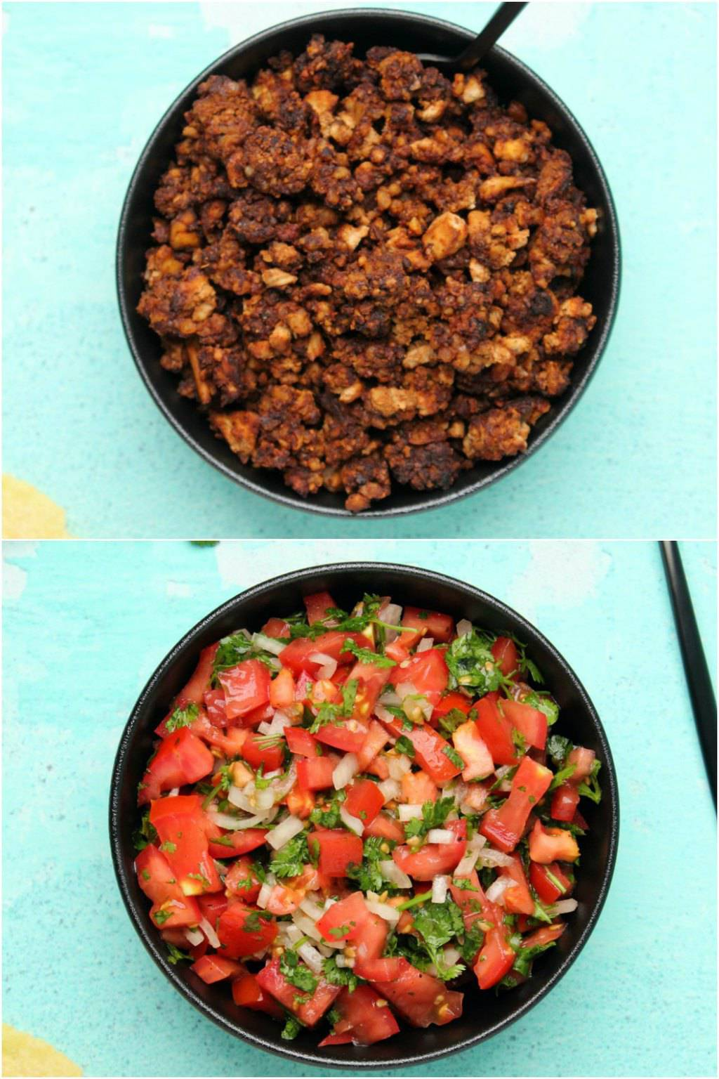 Vegan taco meat and pico de gallo for vegan taco meat.