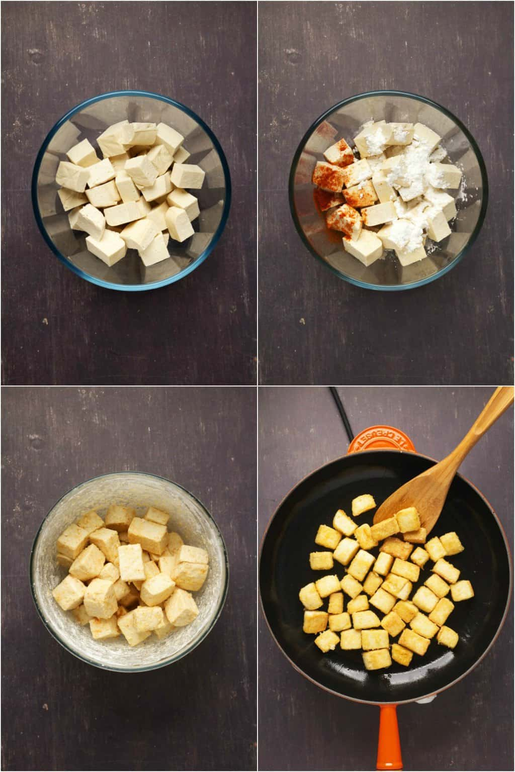 Step by step process photo collage of preparing the tofu for General Tso's tofu.