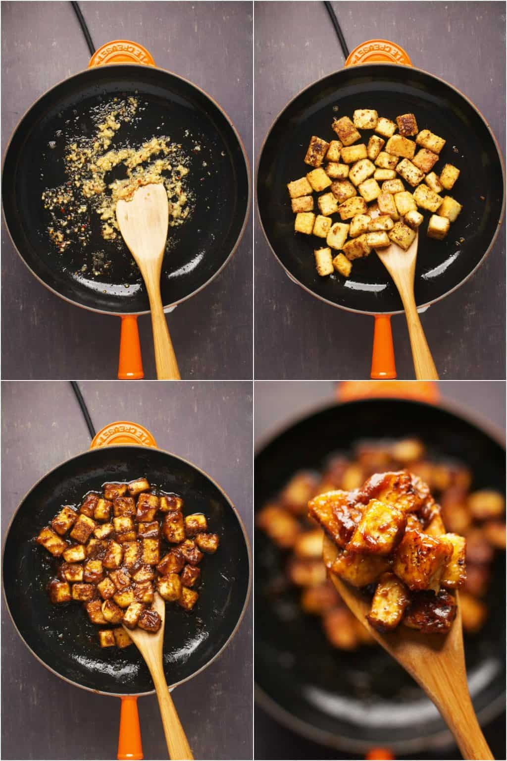 Step by step process photo collage of making General Tso's tofu.