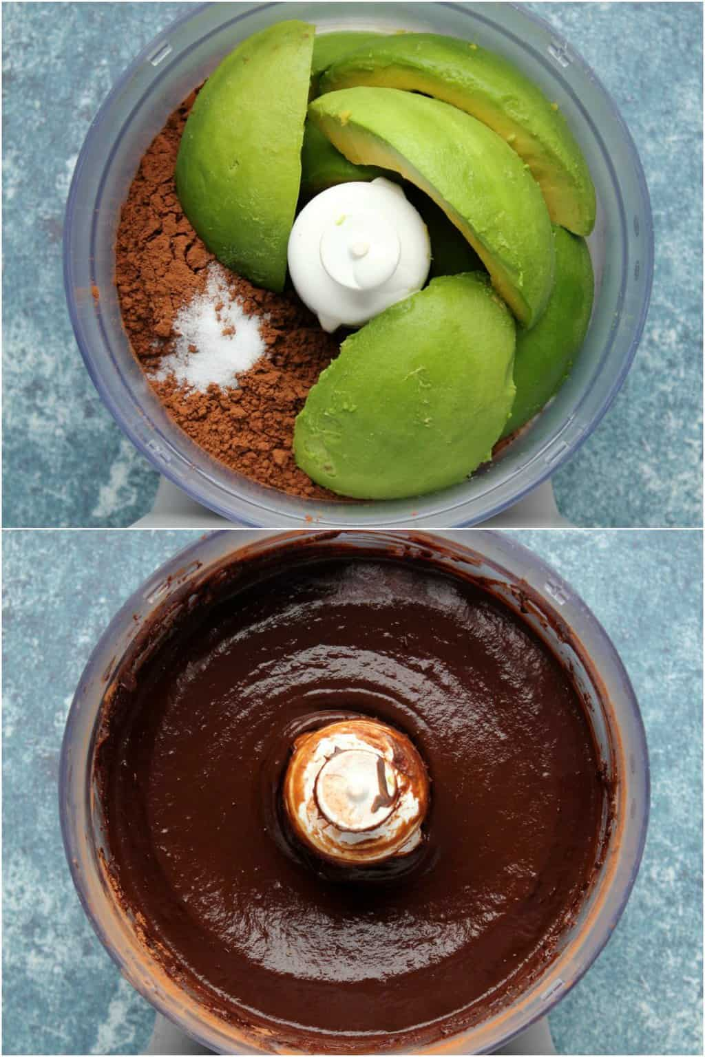 Step by step process photo collage of making vegan chocolate avocado mousse.