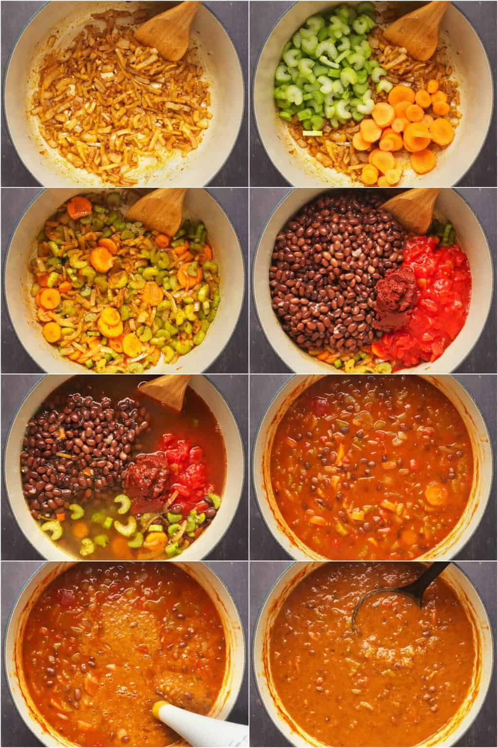 Step by step process photo collage of making vegan black bean soup.