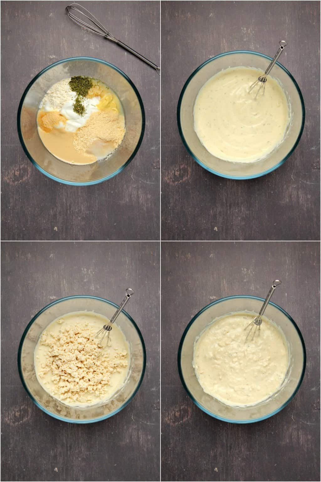 Step by step process photo collage of making a vegan blue cheese dressing.