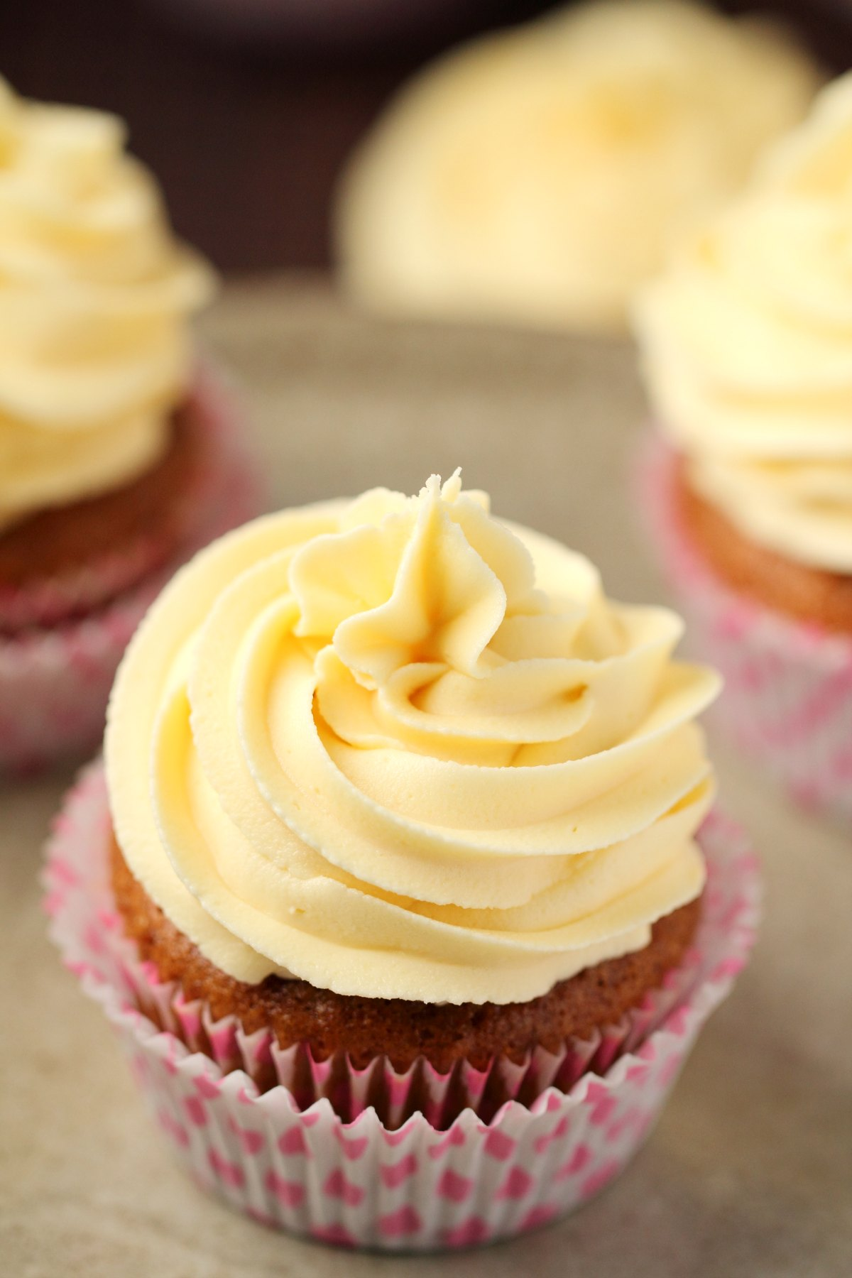 Vanilla cupcake topped with vegan buttercream.