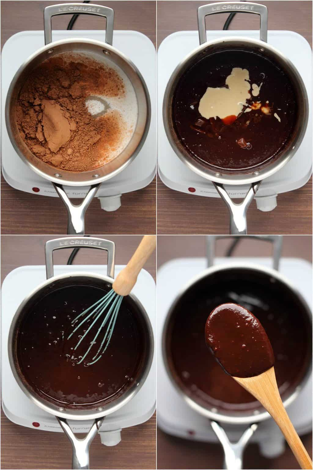 Step by step process photo collage of making vegan chocolate sauce.