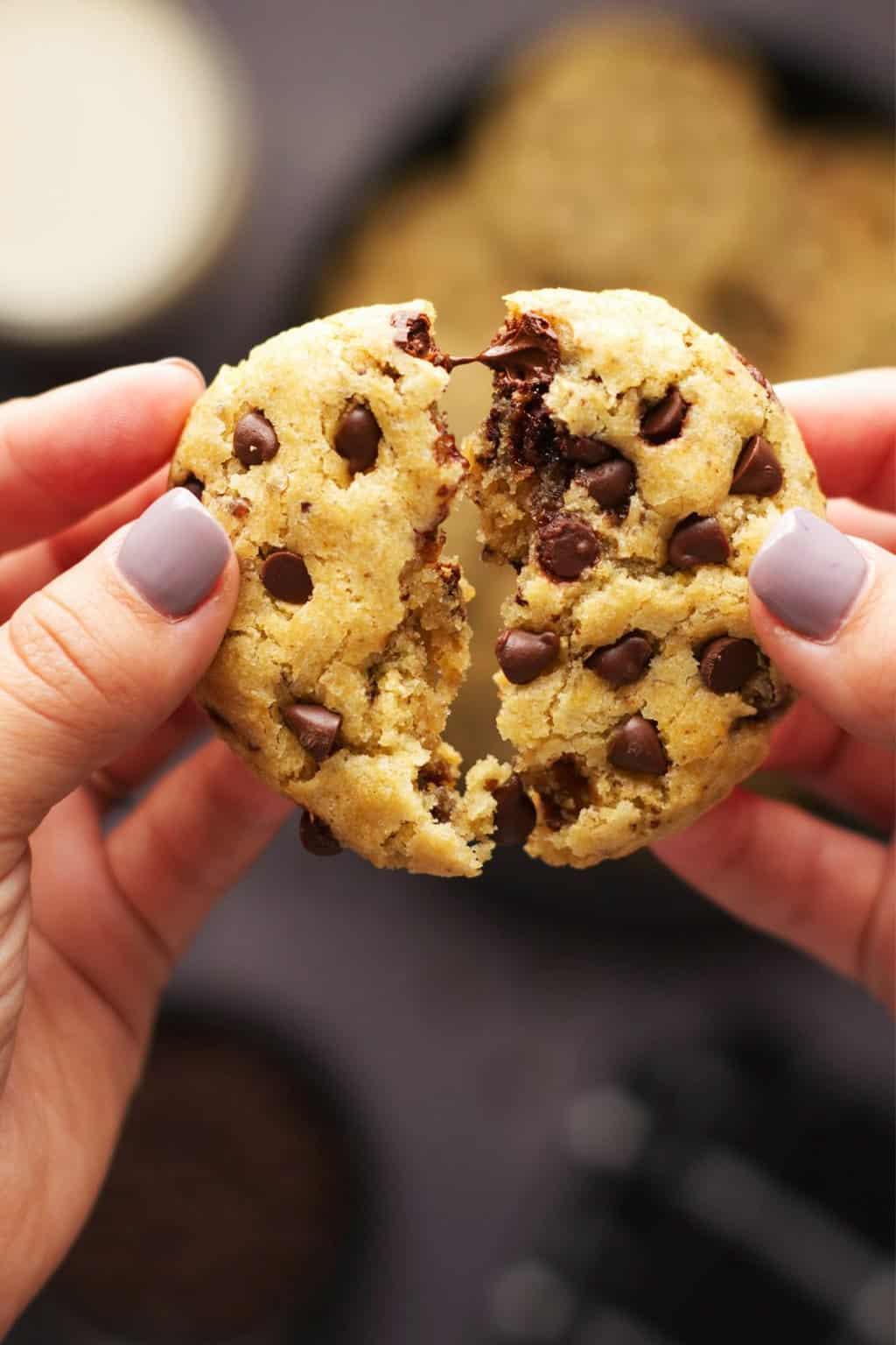 A vegan gluten free chocolate chip cookie being broken in half.