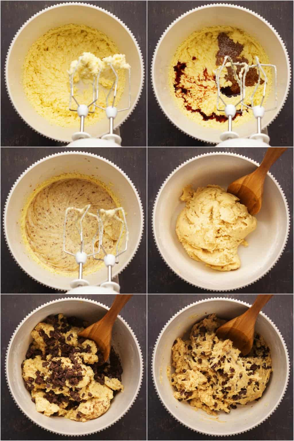Step by step process photo collage of making vegan gluten free chocolate chip cookies.