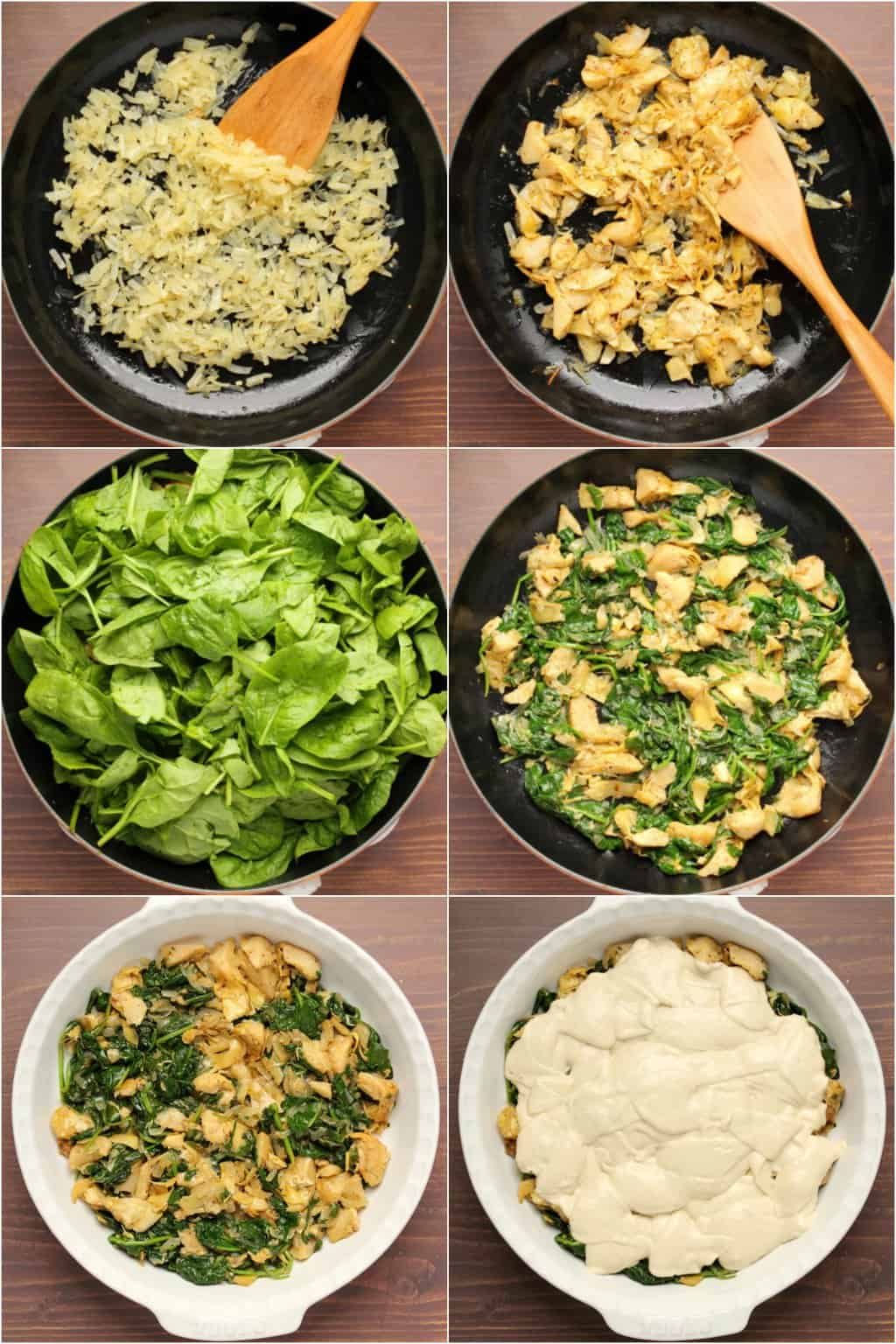 Step by step process photo collage of making vegan spinach artichoke dip.