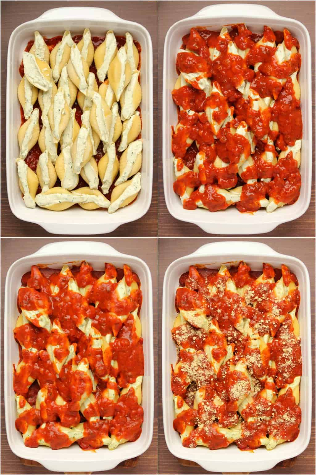 Step by step process photo collage of making vegan stuffed shells.
