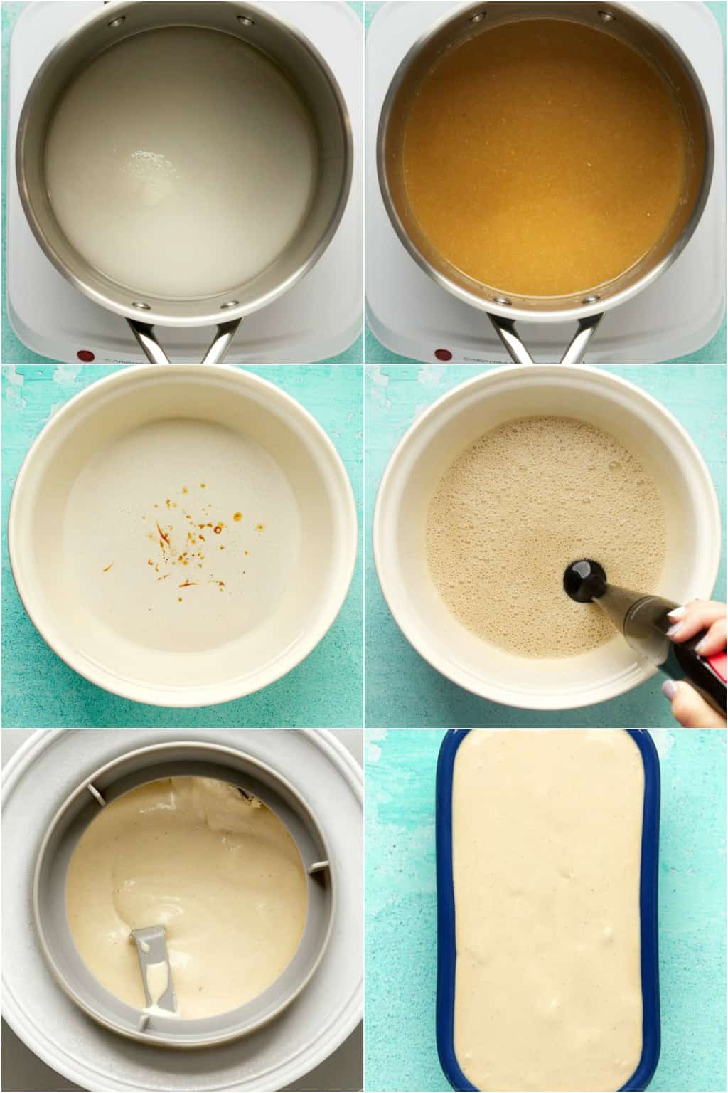 Step by step process photo collage of making cashew ice cream.