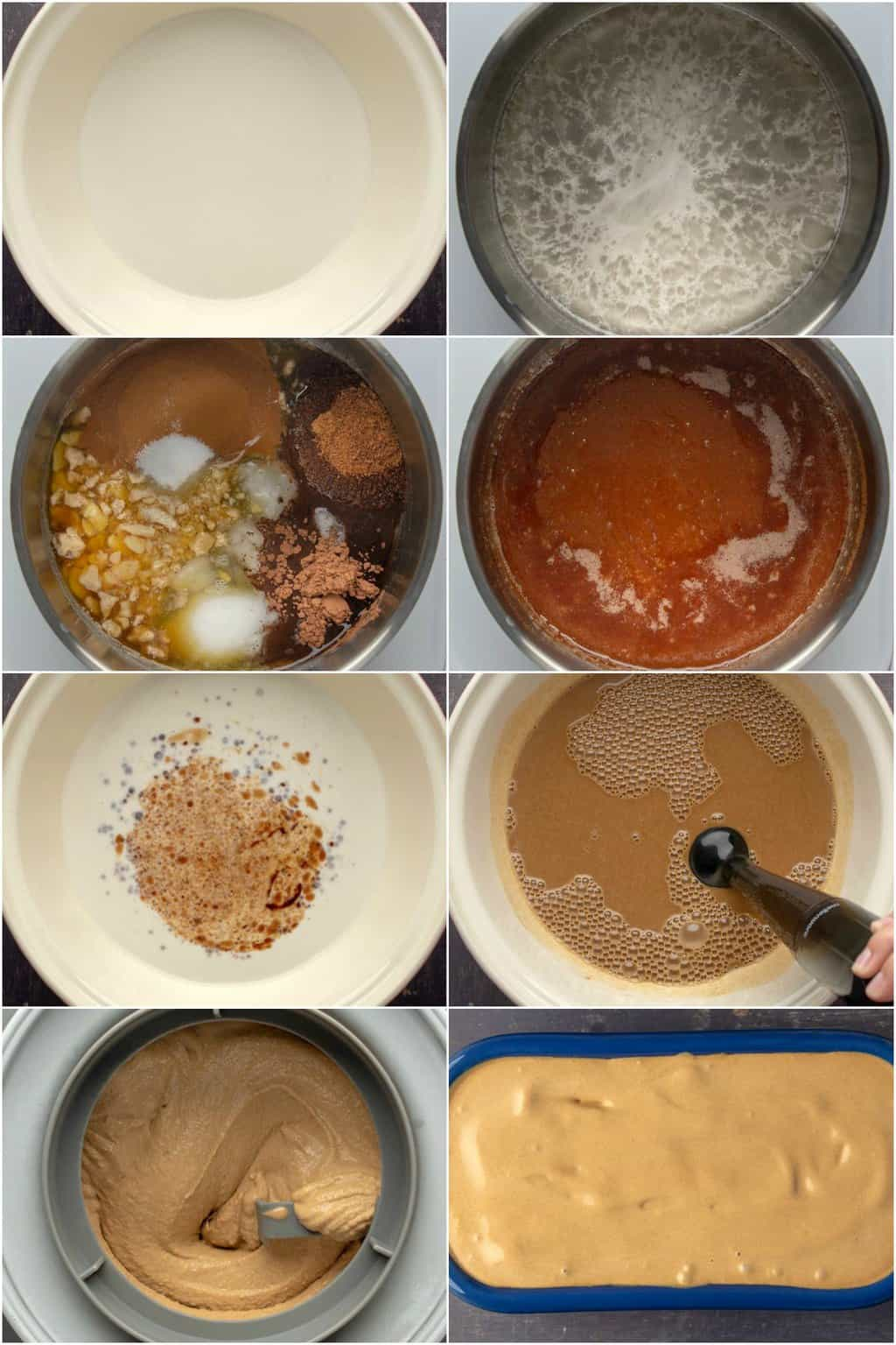 Step by step process photo collage of making vegan coffee ice cream.