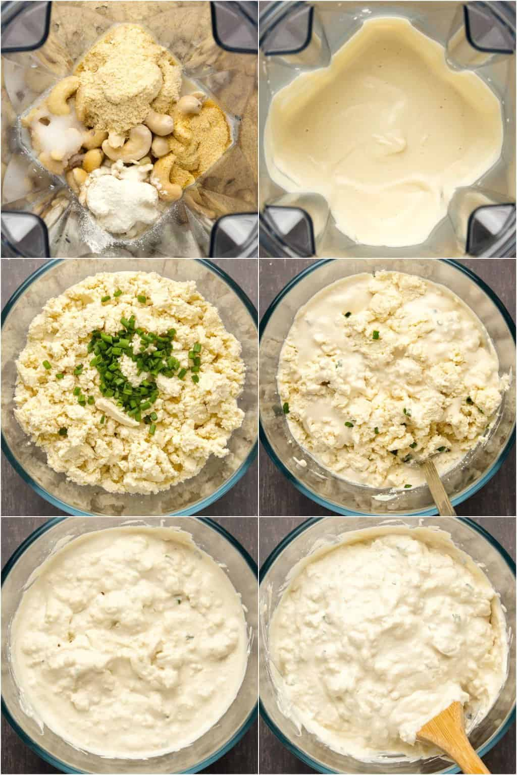 Step by step process photo collage of making vegan cottage cheese.