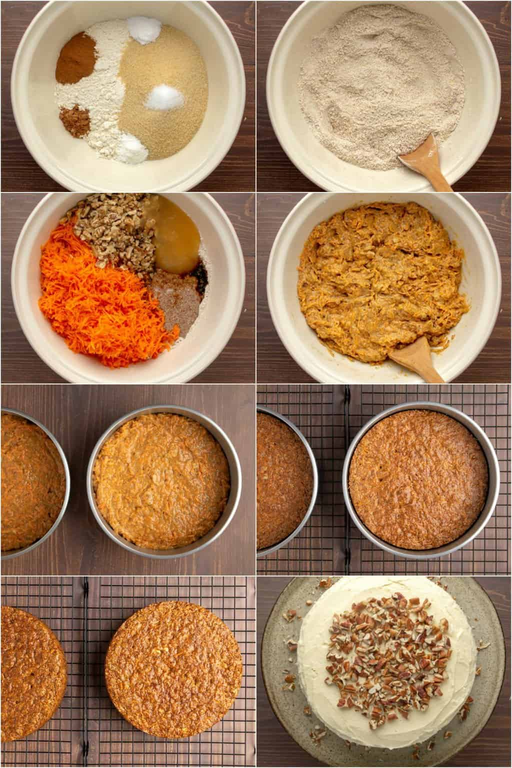 Step by step process photo collage of making a vegan gluten free carrot cake.