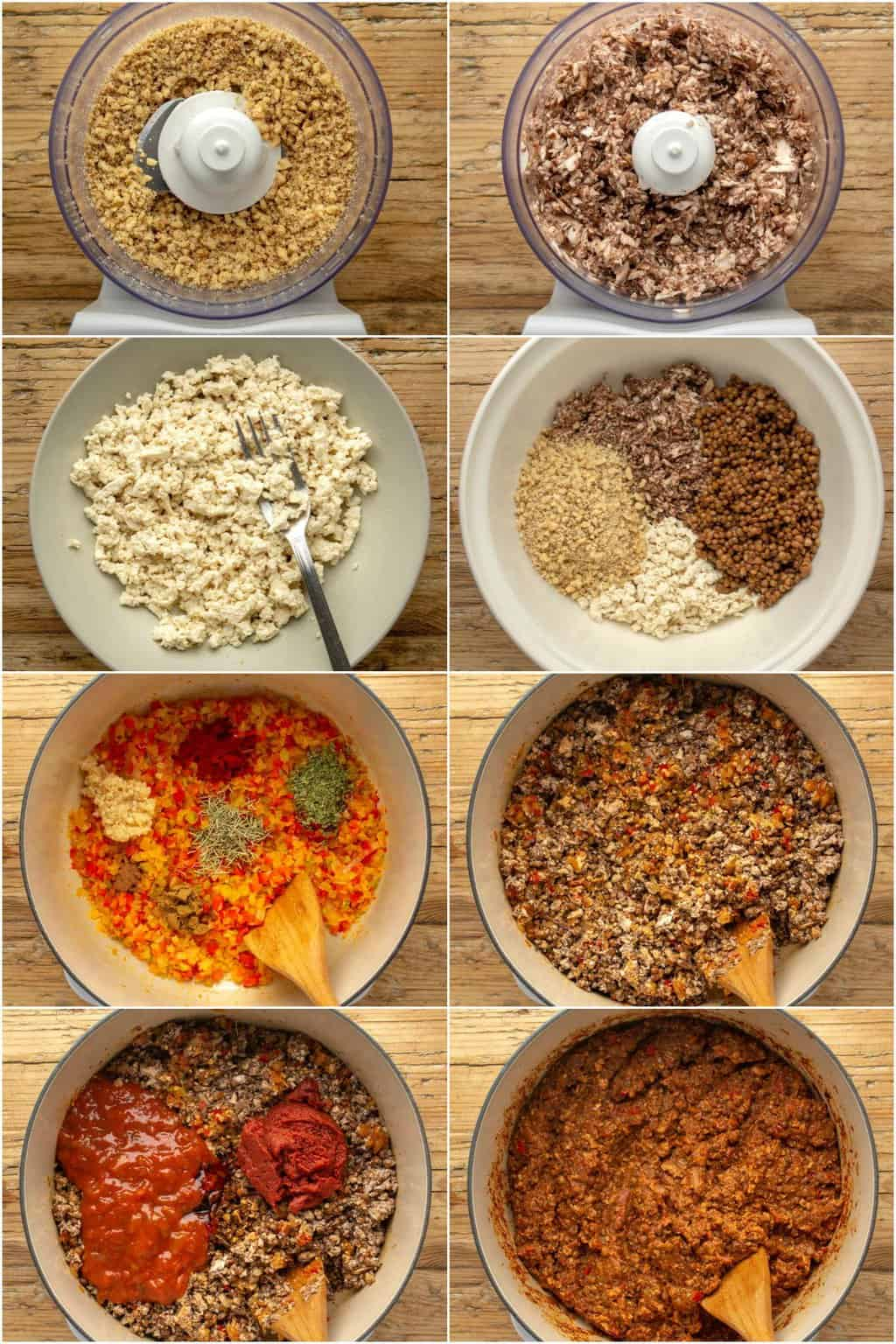 Step by step process photo collage of making vegan mince for moussaka.