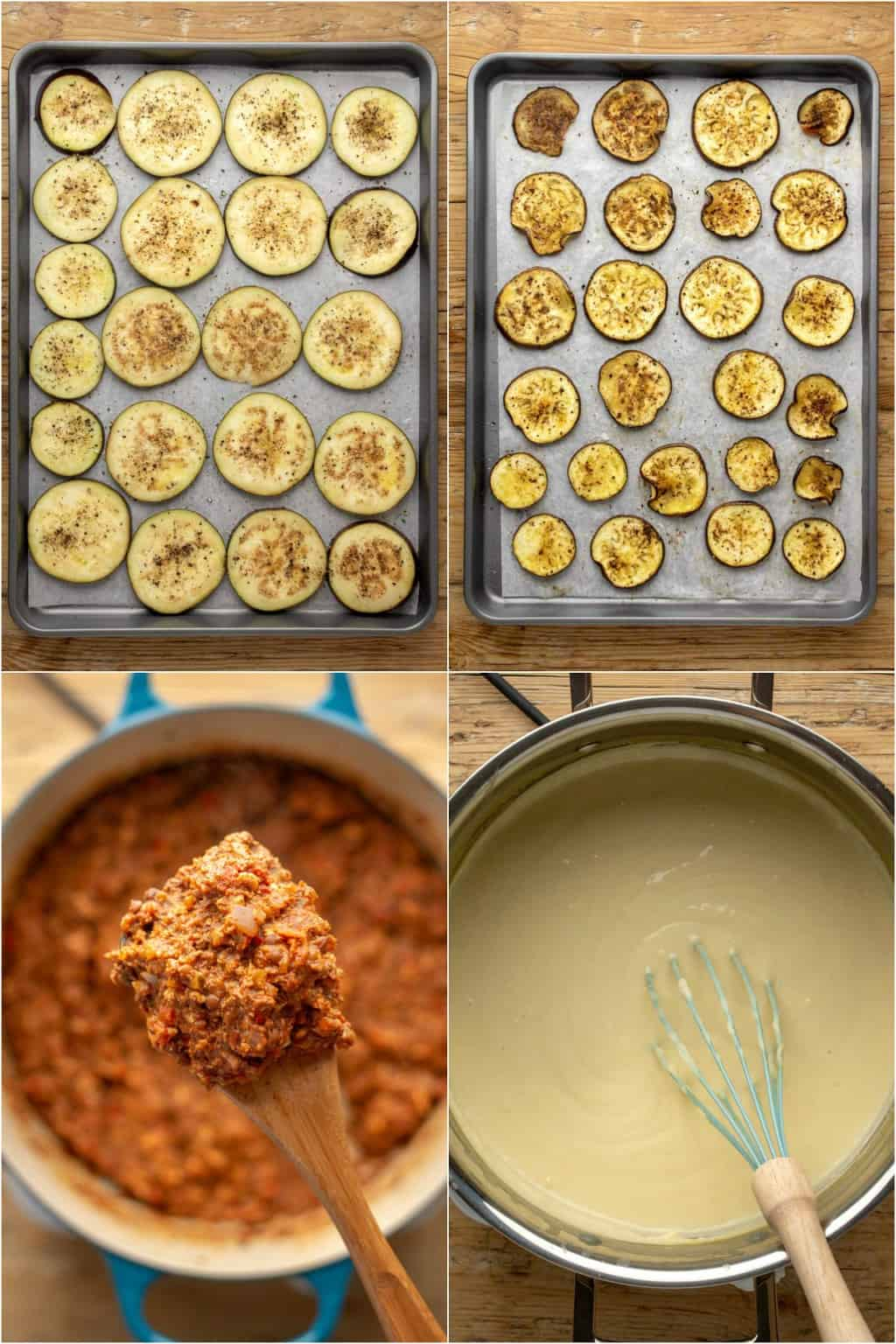 Step by step process photo collage of making vegan moussaka.