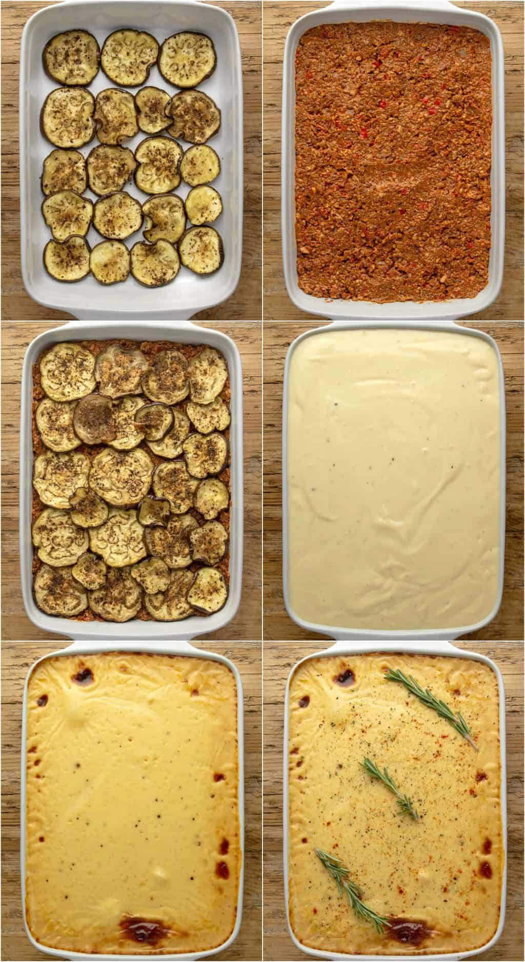 Step by step process photo collage of assembling the layers for vegan moussaka.