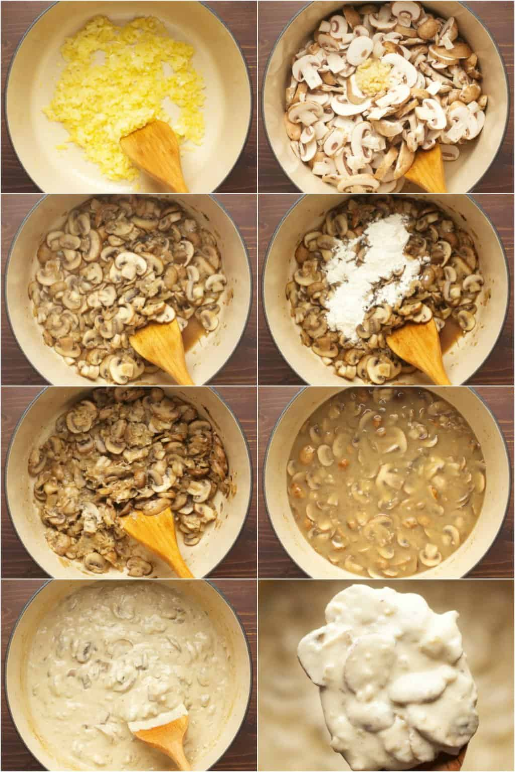 Step by step process photo collage of making a vegan mushroom stroganoff sauce.