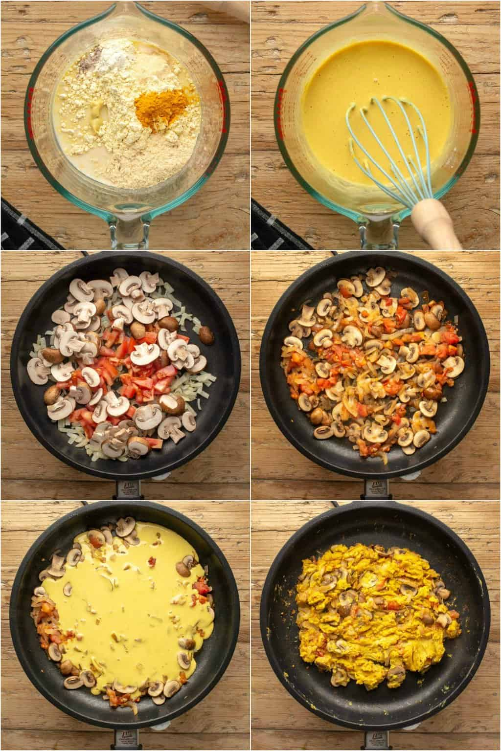 Step by step process photo collage of making vegan scrambled eggs.