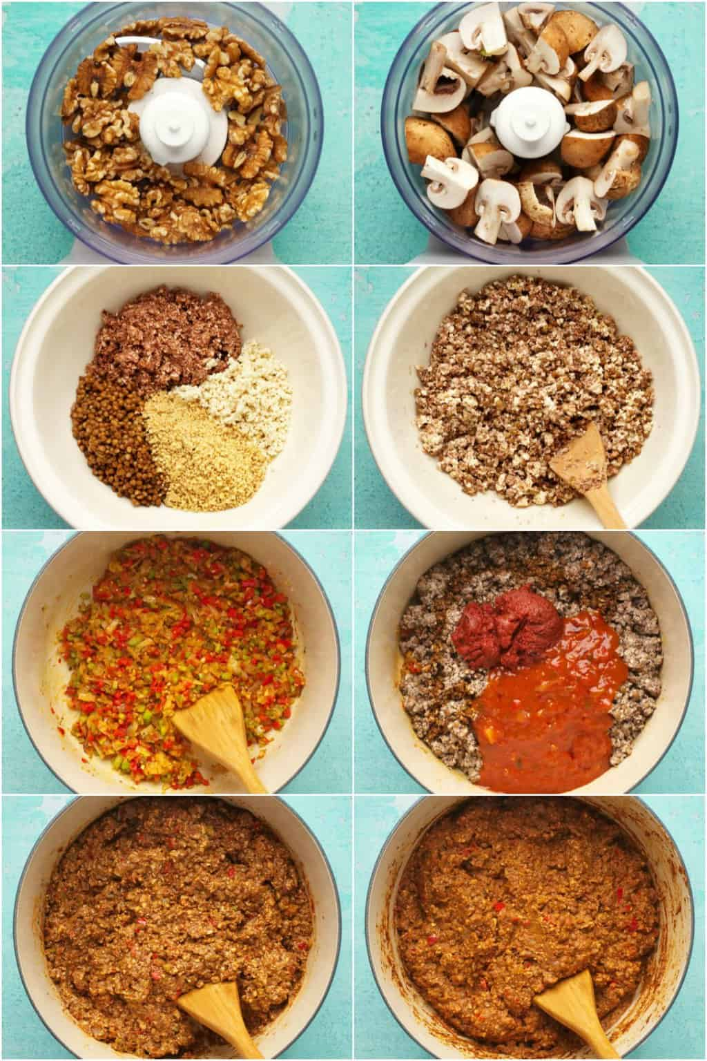Step by step process photo collage of making the vegan mince for vegan Sloppy Joes.