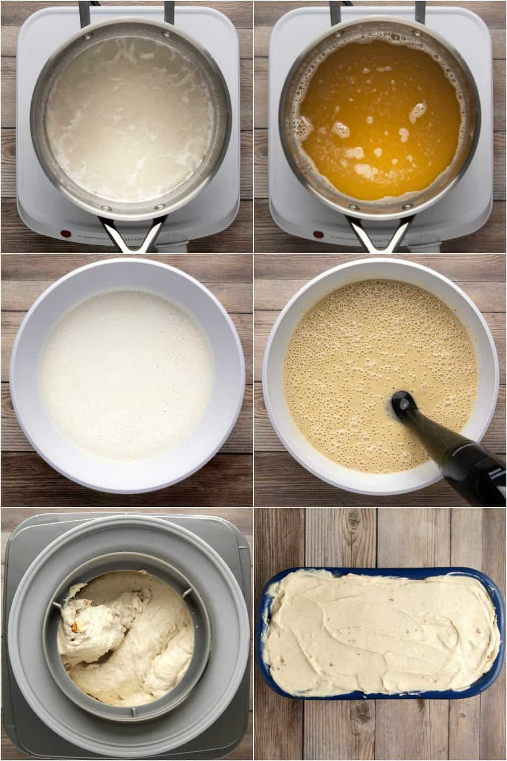 Step by step process photo collage of making vegan banana ice cream.