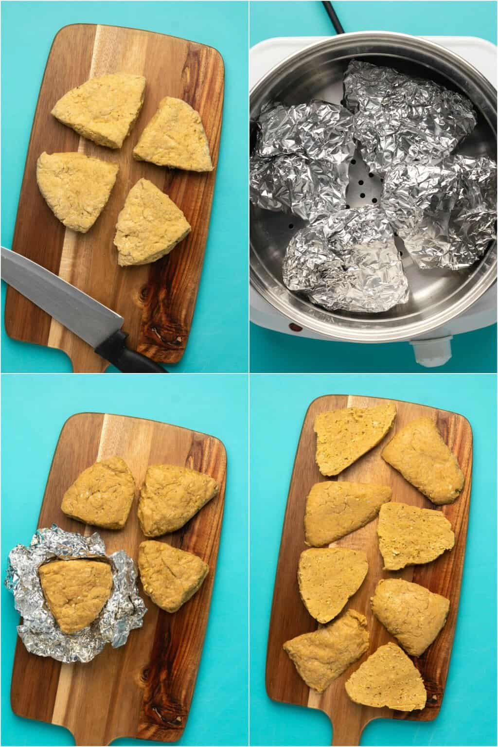 Step by step process photo collage of how to make vegan chicken fillets.