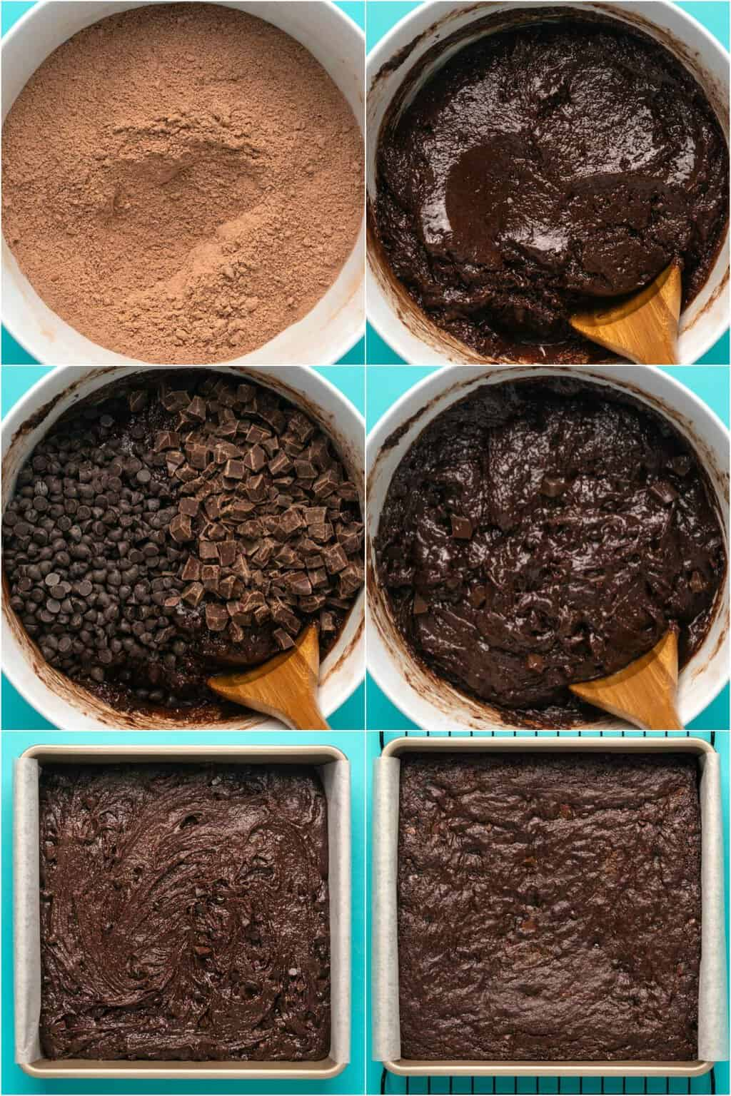 Step by step process photo collage of making vegan gluten free brownies