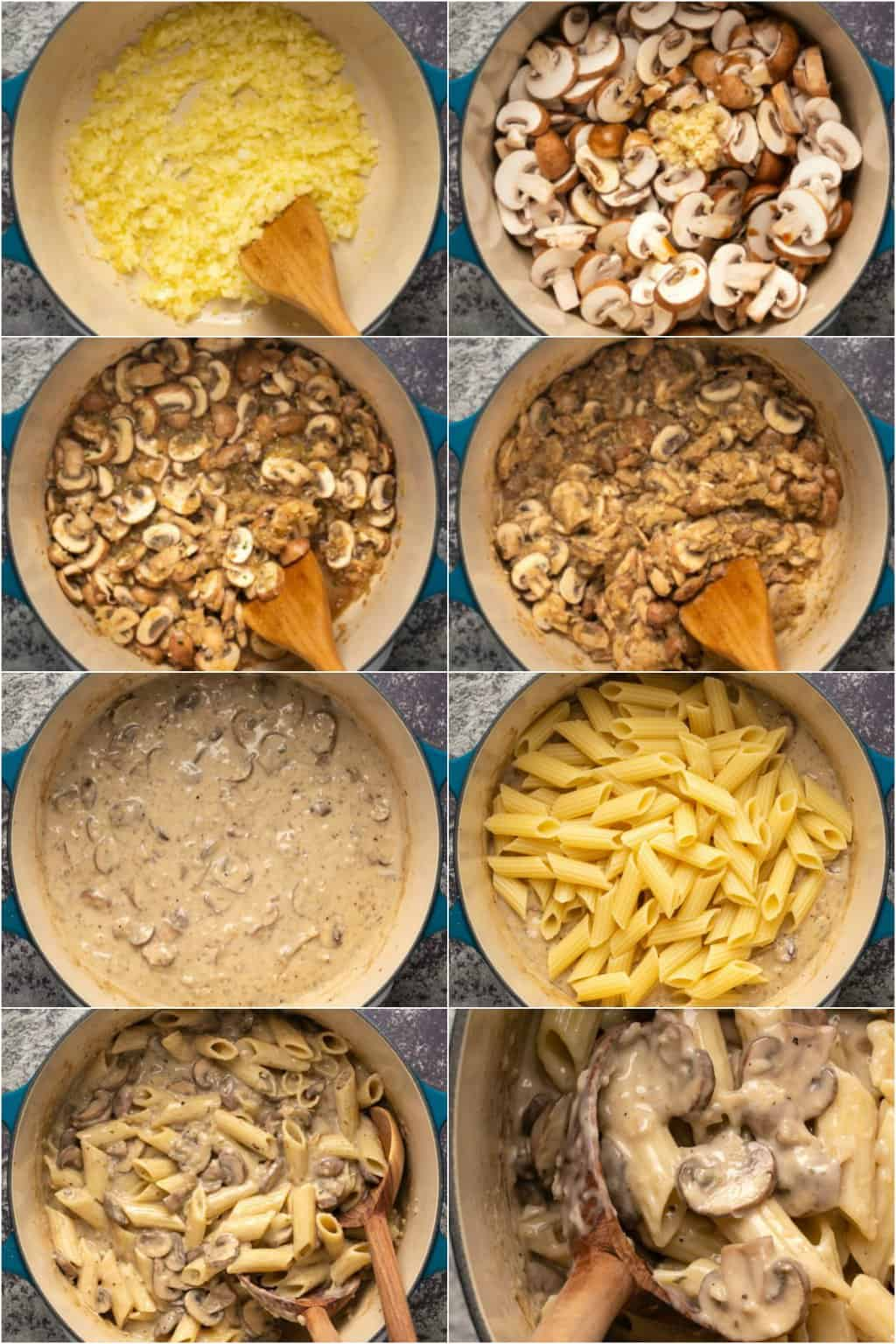 Step by step process photo collage of making vegan mushroom pasta.