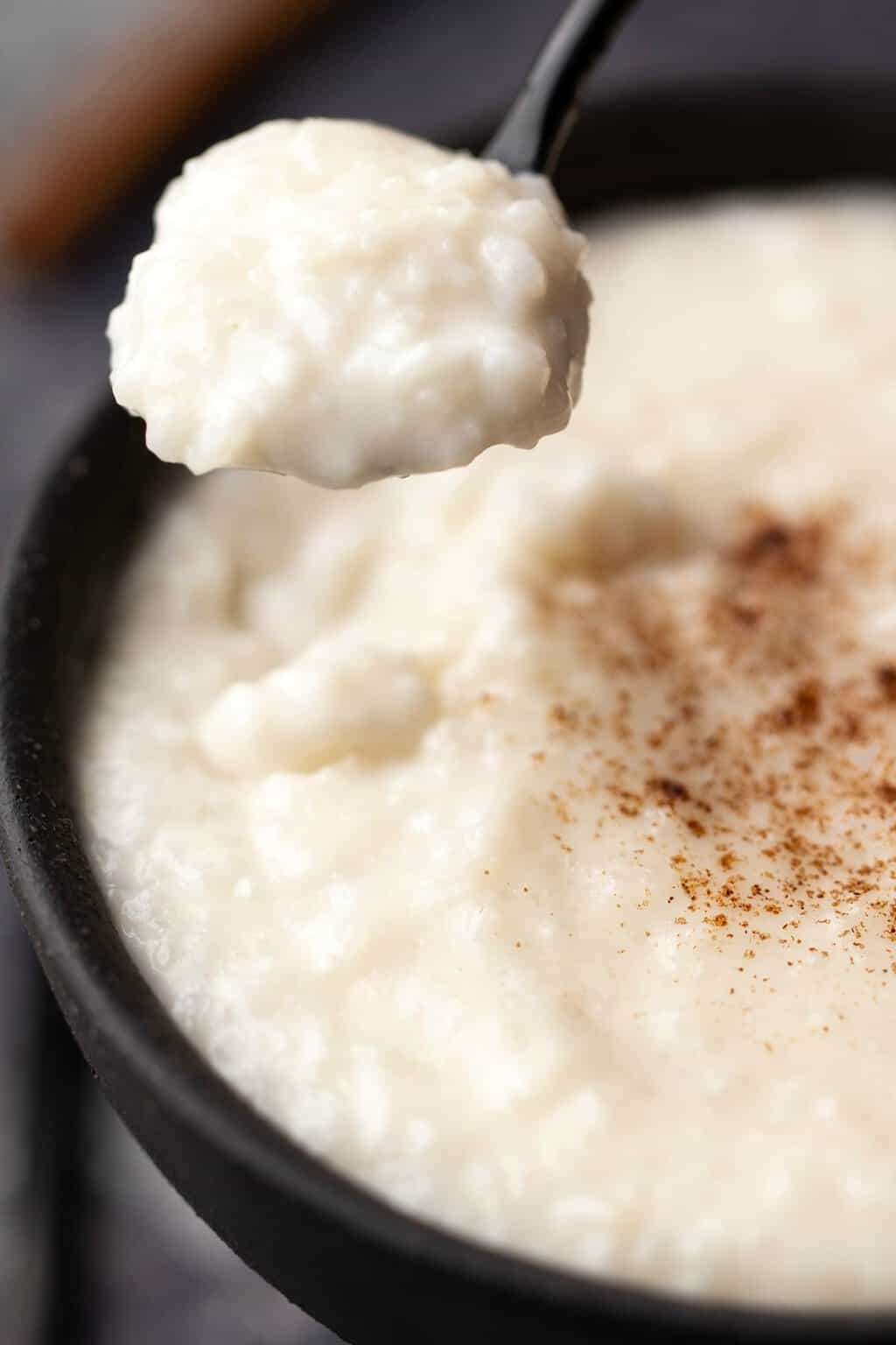 A spoonful of vegan rice pudding.