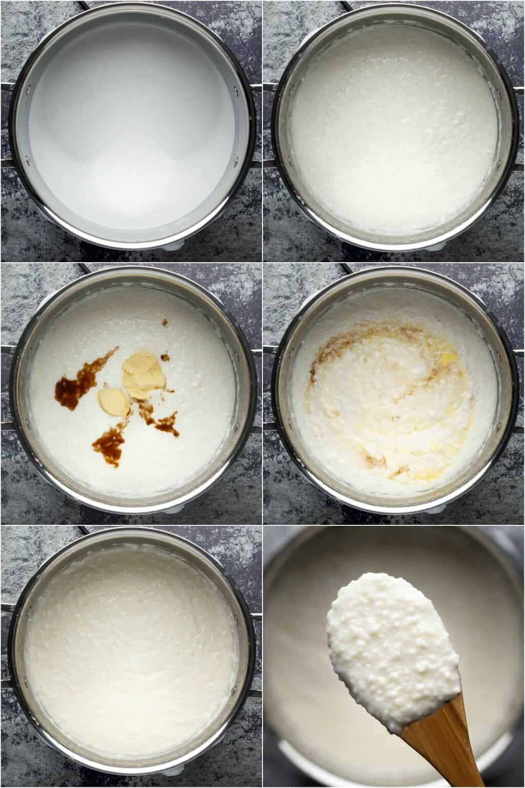 Step by step process photo collage of making vegan rice pudding.