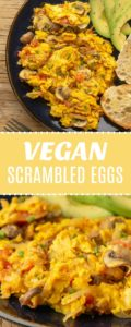 Vegan Scrambled EggsThese vegan scrambled eggs are made with chickpea flour instead of tofu for a filling and high protein breakfast scramble.#vegan #glutenfree | lovingitvegan.com