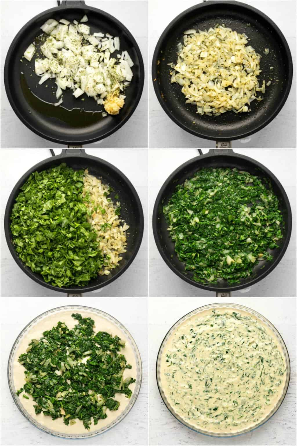 Step by step process photo collage of making vegan spinach dip.