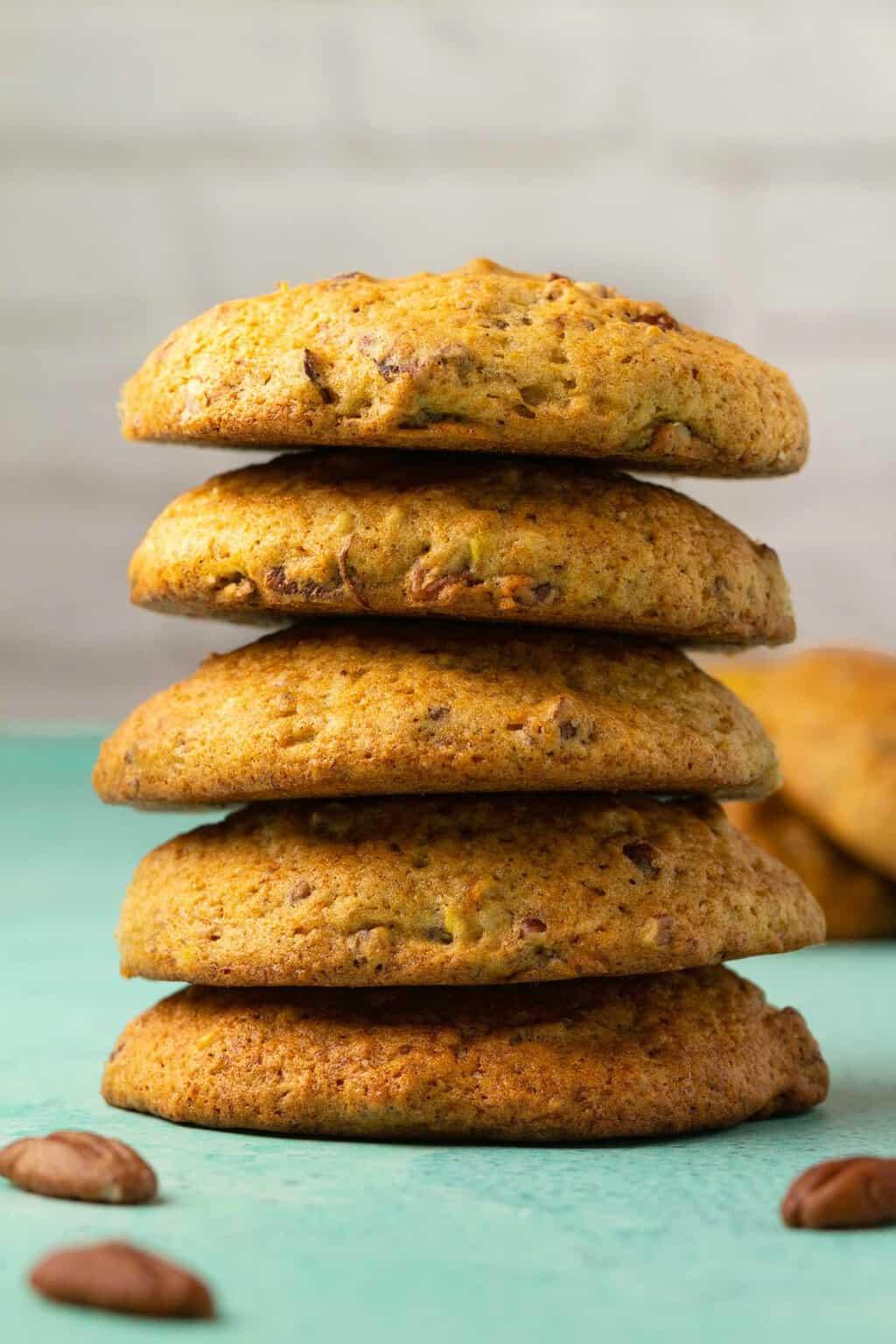 A stack of vegan banana cookies.