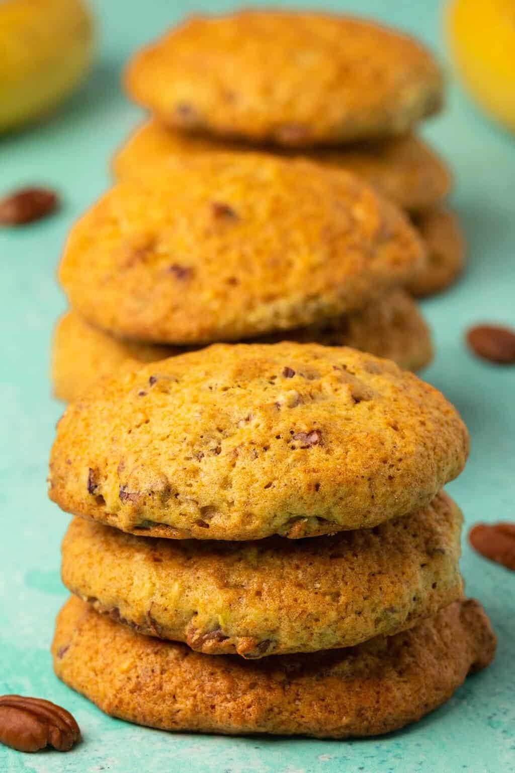 Vegan banana cookies in stacks of three.