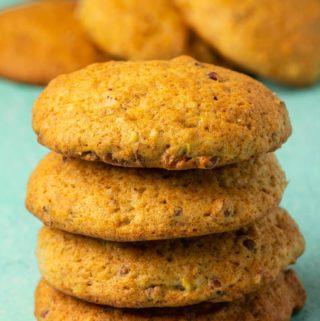 Vegan banana cookies in a stack.