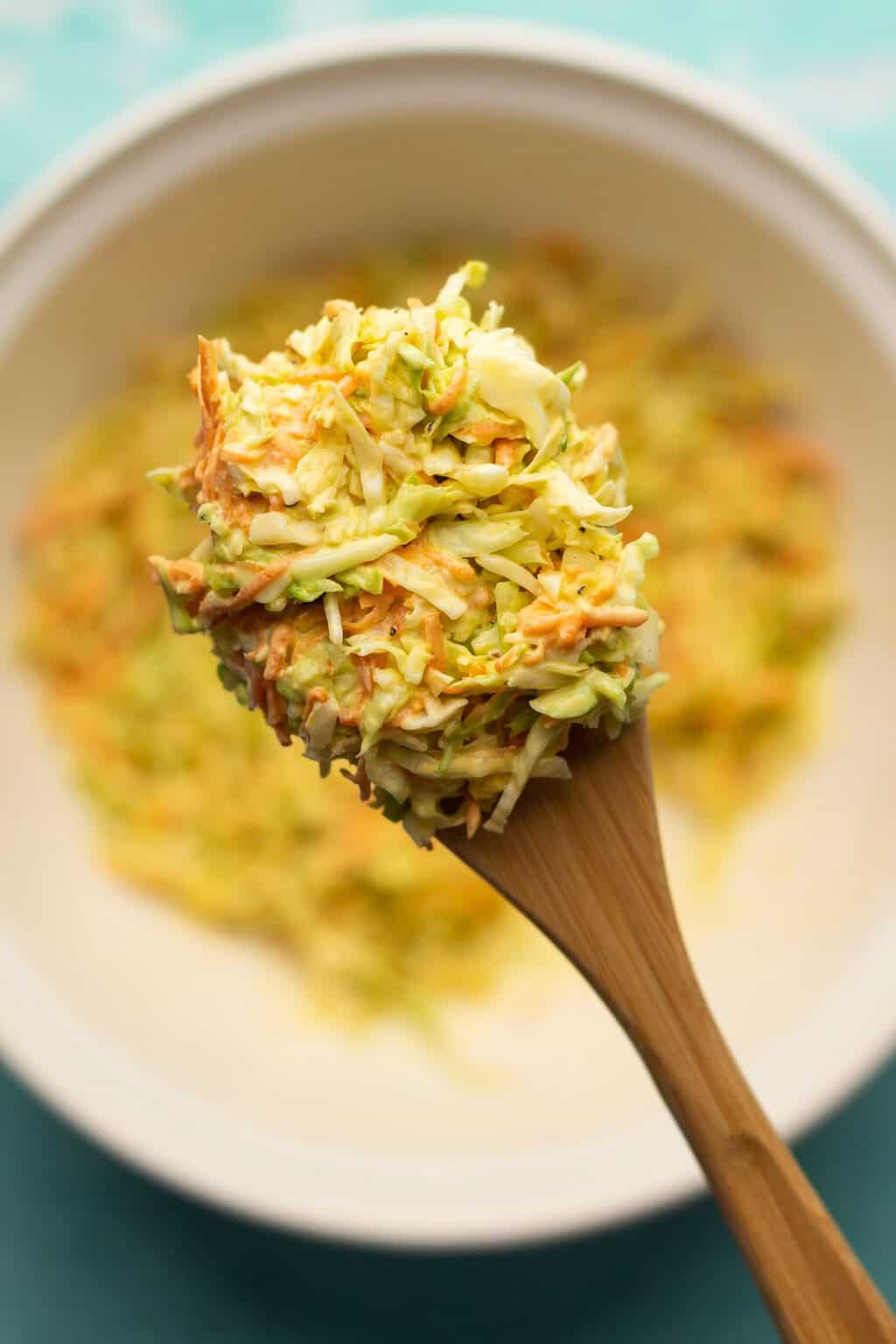 A spoonful of vegan coleslaw.
