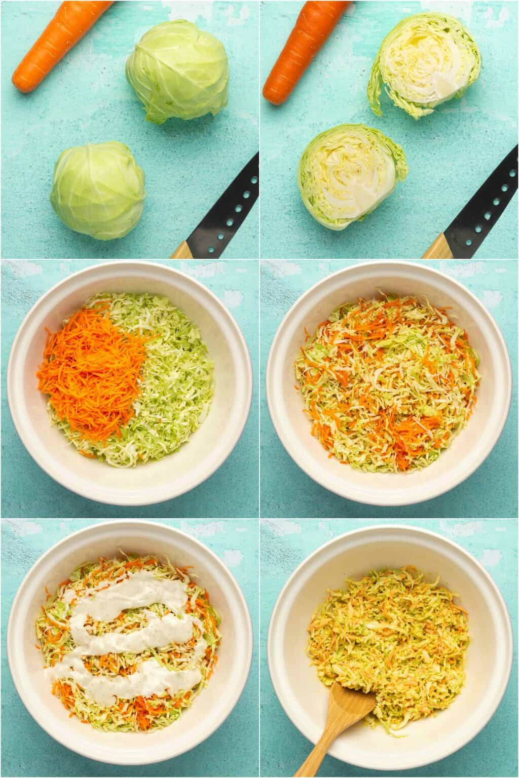 Step by step process photo collage of making vegan coleslaw.