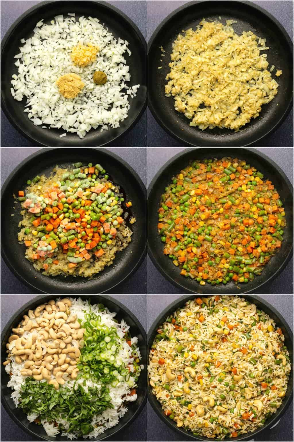 Step by step process photo collage of making vegan fried rice.