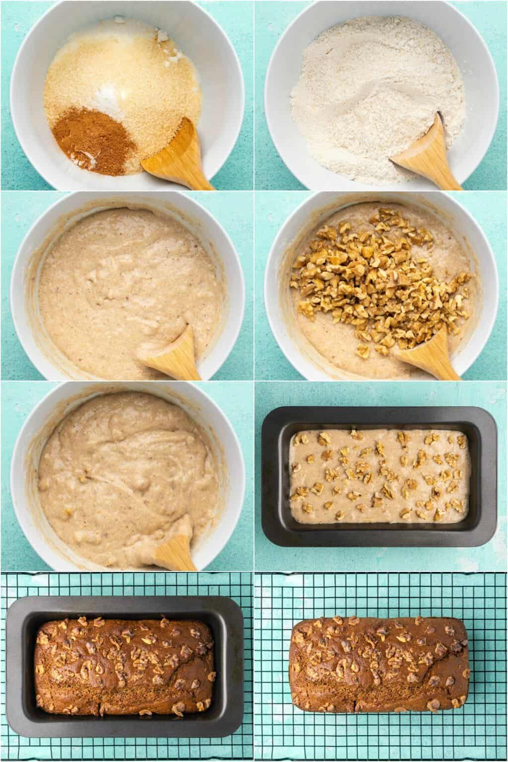 Step by step process photo collage of making vegan gluten free banana bread.